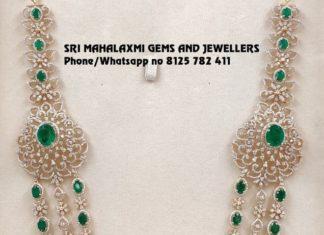diamond emerald layered necklace