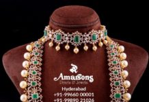 diamond emerald necklace haram set