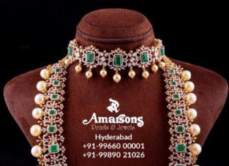 diamond emerald necklace haram set