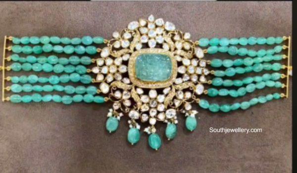 emerald beads bracelet polki pendant