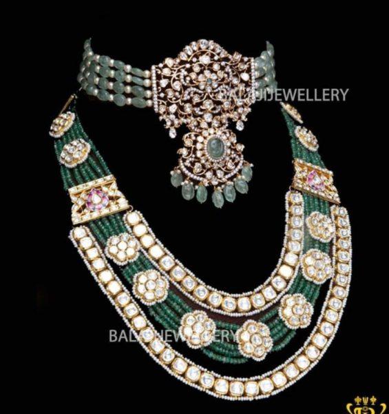 emerald beads choker and haram