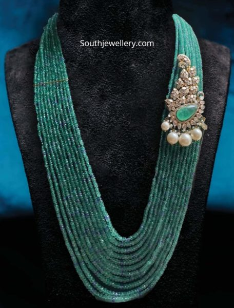 emerald beads haram with side brooch
