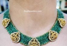 emerald beads nakshi necklace aqua diamonds