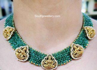 emerald beads nakshi necklace aqua diamonds