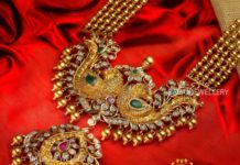 gold balls haram with peacock pendant