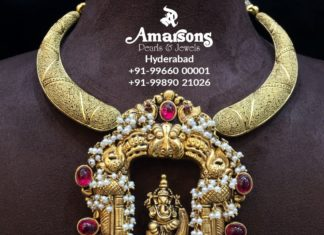 gold choker with ganesh pendant