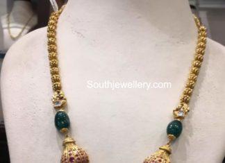 gold haram with chandbali pendant