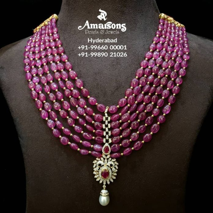 layered ruby beads necklace