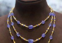 layered tanzanite beads necklace