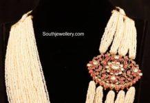 multi layer pearl mala with kundan side pendant