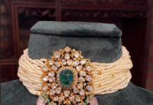 multi strand pearl choker with morganite pendant