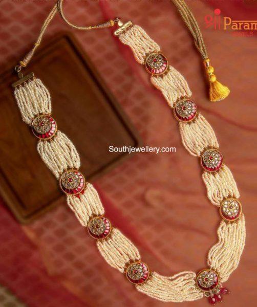 multi strand pearl haram with kundan pendants