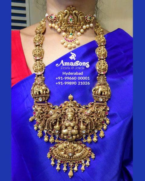 peacock choker and lakshmi haram