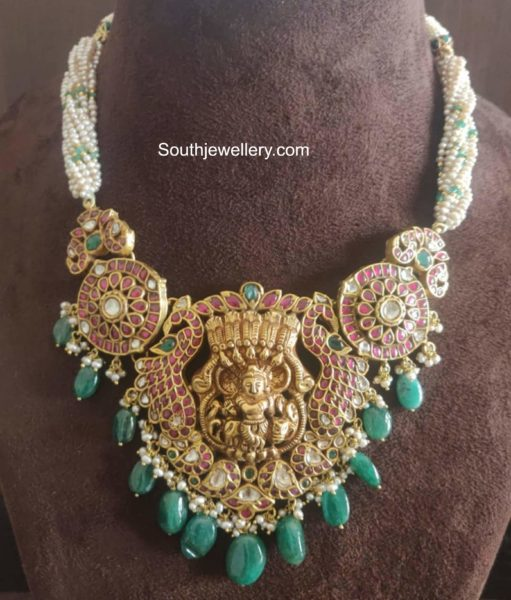 pearl necklace with kundan pendant agastya diamonds