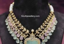 polki and tanzanite beads necklace akoya jewellery