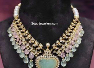 polki and tanzanite beads necklace akoya jewellery