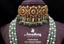 polki choker and beads mala