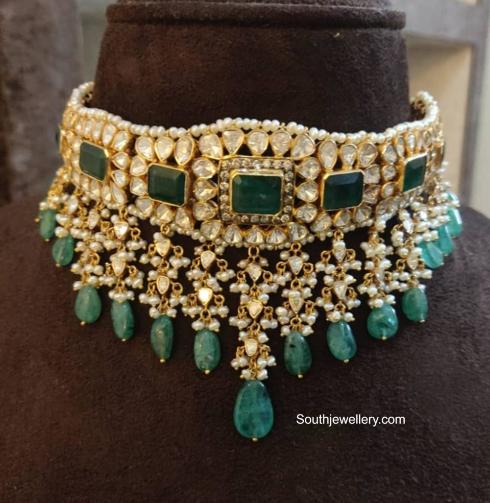 polki diamond and emerald choker agastya