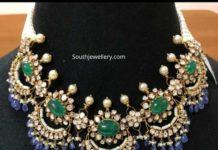 polki diamond and tanzanite necklace