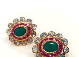 polki emerald studs