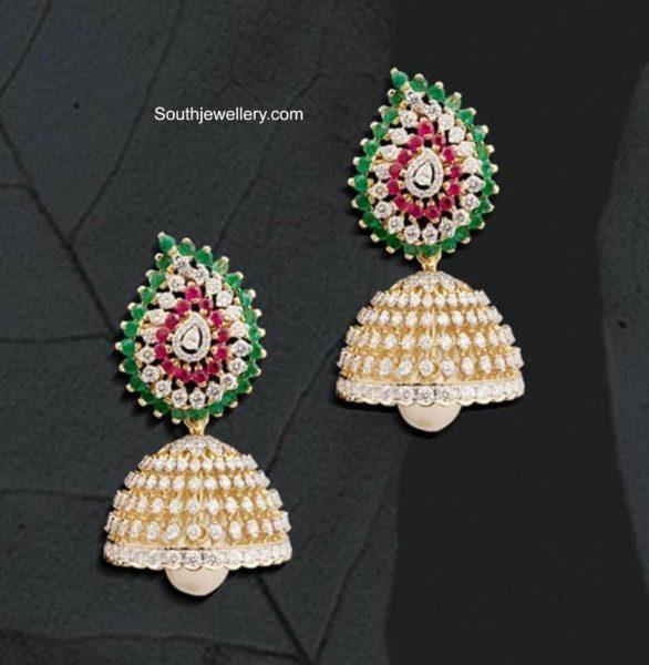 ruby emerald diamond jhumkas