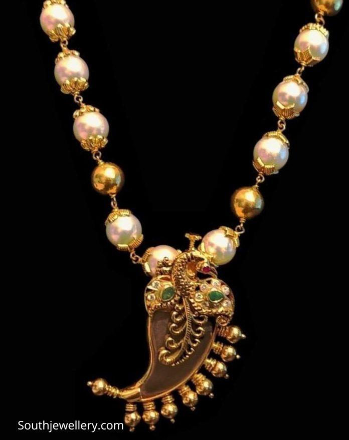 south sea pearl necklace with puligoru pendant