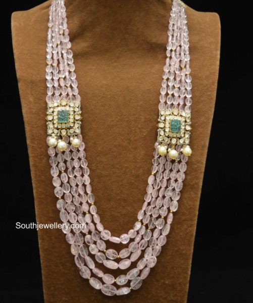 tanzanite beads necklace with polki side pendants