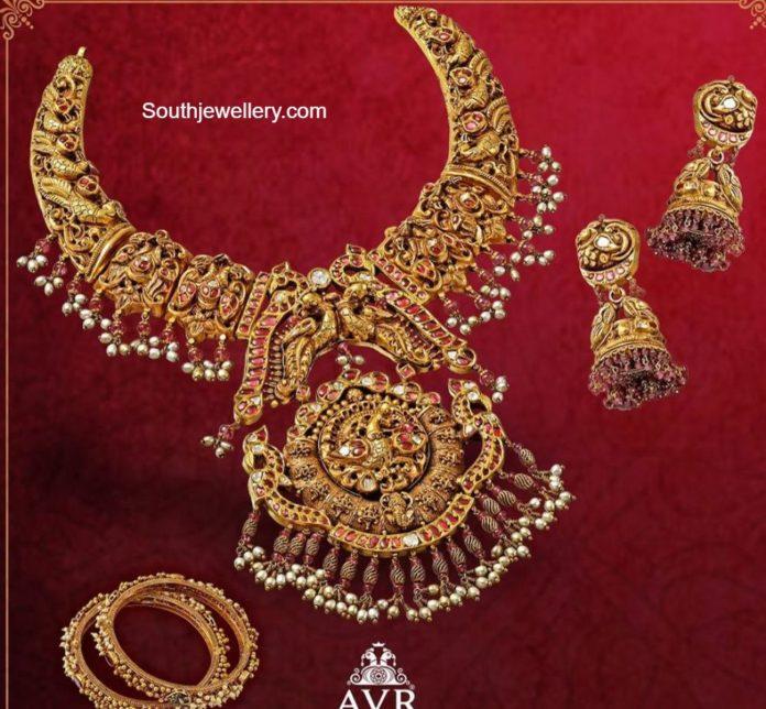 antique gold peacock necklace set
