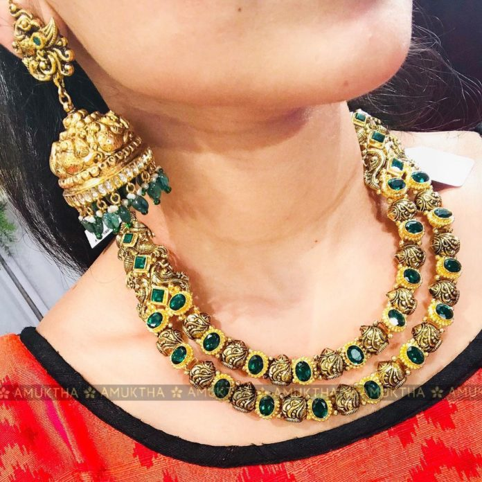 antique gold step necklace and jhumkas