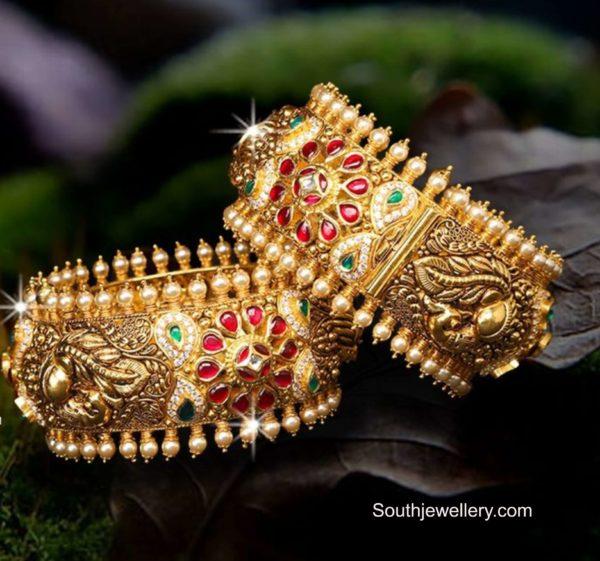 broad antique gold bangles