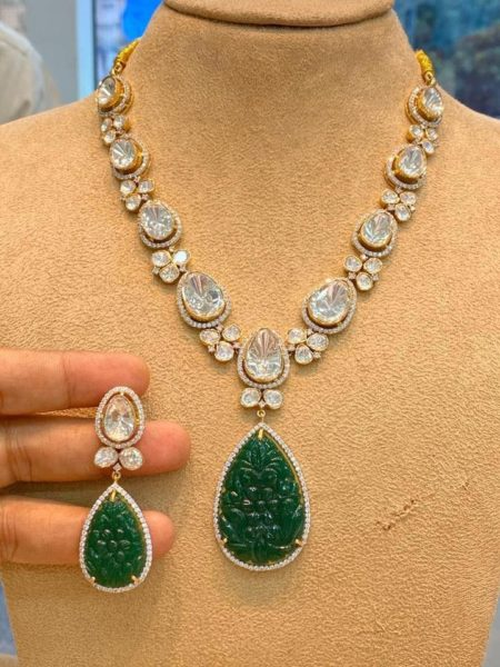 cz necklace with emerald pendant
