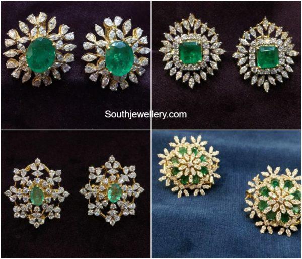 diamond and emerald ear tops studs