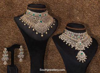 diamond emerald choker and jhumkas sets by jatin mor