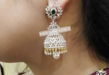 diamond emerald necklace and jhumkis