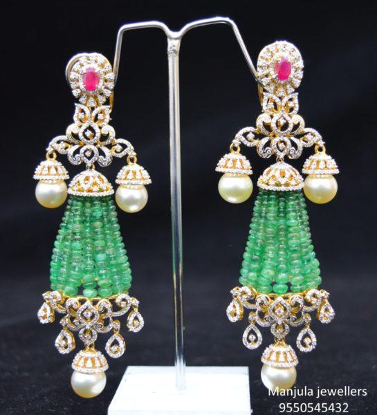 diamond emerald tassel earrings