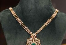 diamond necklace with peacock pendant
