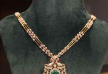 diamond necklace with peacock pendant