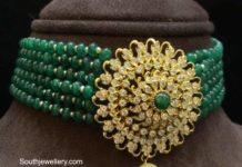 emerald beads choker with diamond pendant