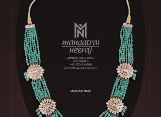 emerald beads layered haram