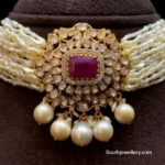 ksea pearls choker with polki pendant