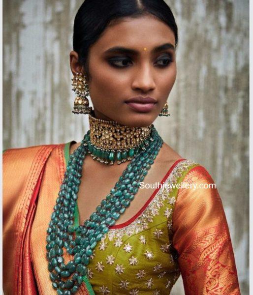 kundan choker and emerald beads mala