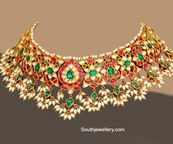 kundan choker with pearls