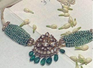 multi strand pearl and emerald choker