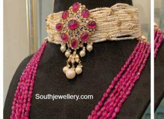 pearl choker and ruby haram