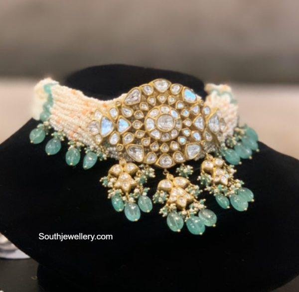 pearl choker with polki pendant (3)