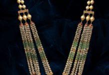 pearl haram with l;akshmi kundan pendant pavan mor