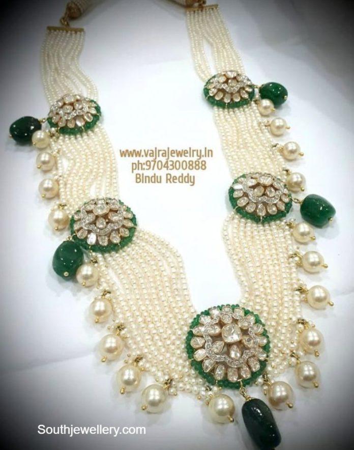 pearl haram with polki pendant