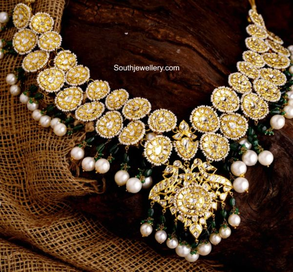 polki diamond bottu necklace