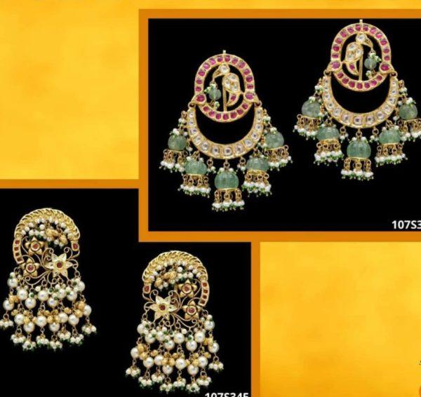 polki earrings with multiple jhumkas