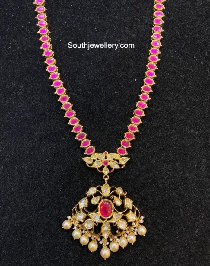 ruby necklace with polki pendant